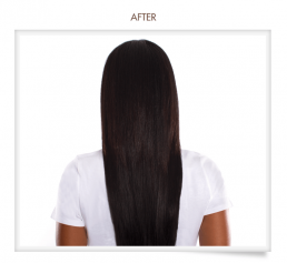 woman with straight beautiful hair after getting a brazilian blowout at hair salon 51 in hicksville ny