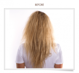 woman with frizzy hair going to hair salon 51 in hicksville ny for a brazilian blowout